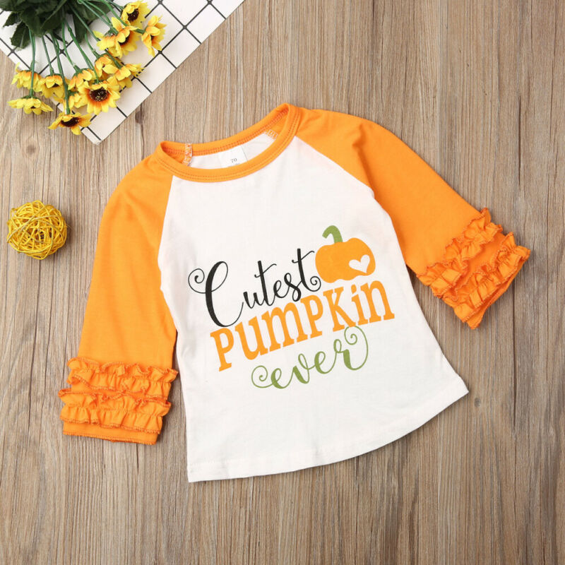 Baby Girls Blouse Thanksgiving Halloween Christmas Outfits Ruffle Long Sleeve Letter Print T Shirt Top