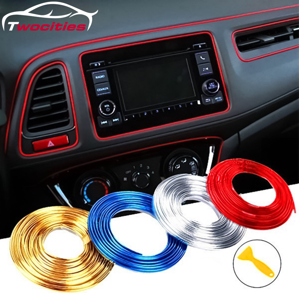 2M/3M/5M/10M Car Styling Universal DIY Flexible Interior Decoration Moulding Trim Strips Car Central Control And Door Decoration