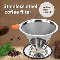 Edelstahl Papierlose Gießen Über Kaffee Wiederverwendbare Kegel Kaffee Tropf Filter Tragbare Reusable-in Filter für Wasserkrüge aus Heim und Garten bei