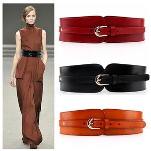 Image 1 - Western Cow leather Elastic Women Cummerbund Fashion Rivet Dress OverCoat Women Wide Belt