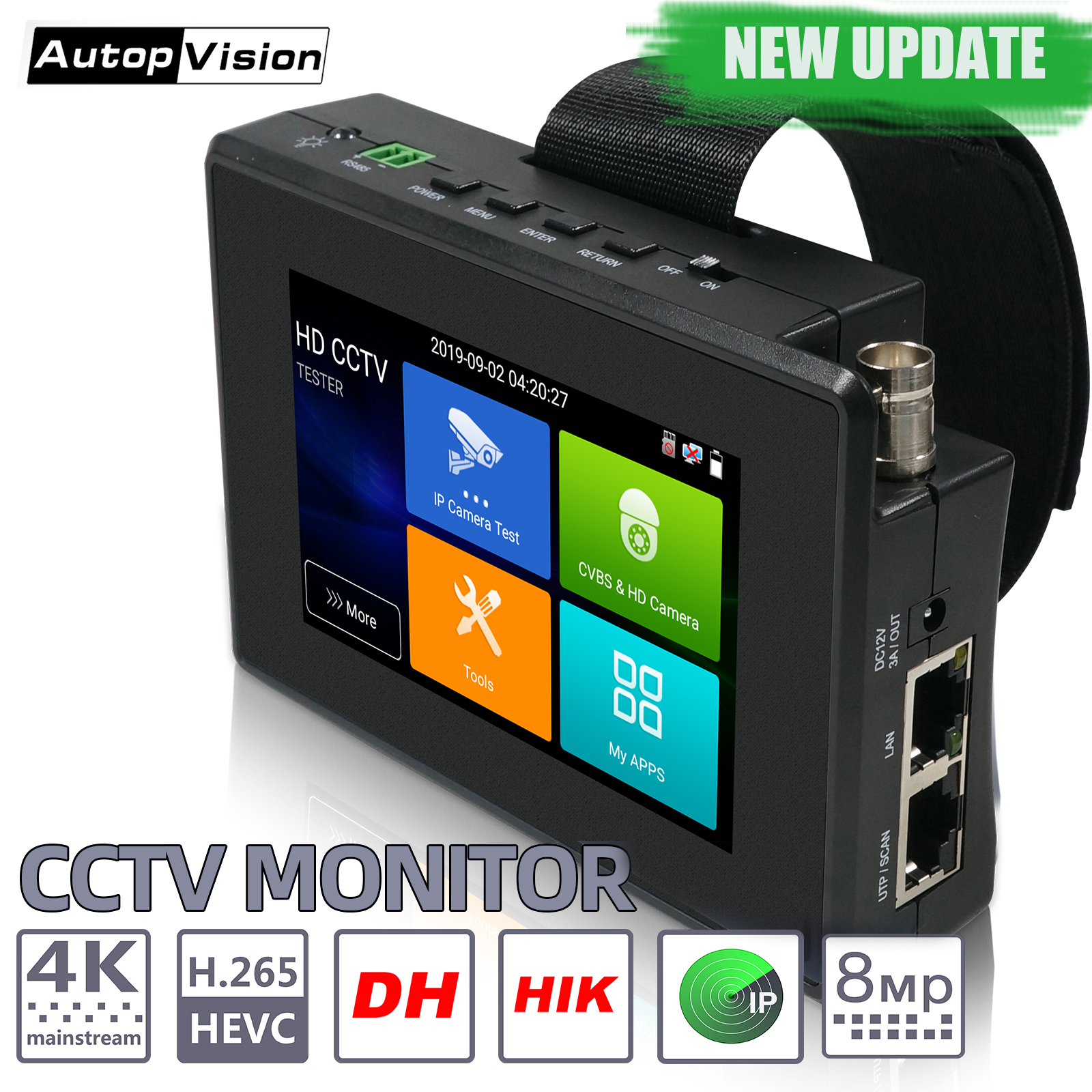 IPC1800plus  8MP 5-IN-1 TVI AHD CVI Analog IP CCTV Camera Tester Build in Battery Security Tester Monitor Video Audio Test PTZ