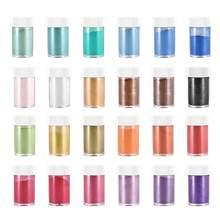 24 renk 10g Pigment dolgu reçine takı yapımı için inci tozu boya inci reçine UV epoksi oje Pigment