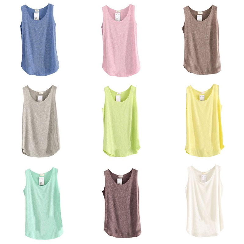 Summer Shirt Women Bamboo Cotton Sleeveless Round Neck Loose Candy Color T Shirt Ladies Vest