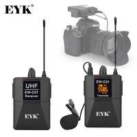 EYK EW-C01, sistema de micrófono lavalier inalámbrico UHF de 30 canales, con micrófono de solapa de mano, entrevista con videocámara con cámara SLR