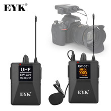 EYK EW-C01 30 Channels UHF Wireless Lavalier Microphone System with Handheld Style Lapel Mic Interview for SLR Camera Camcorder