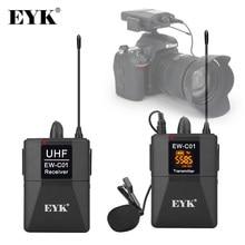 Eyk EW-C01 30 canais uhf sem fio sistema de microfone de lapela com estilo handheld microfone entrevista para câmera slr filmadora