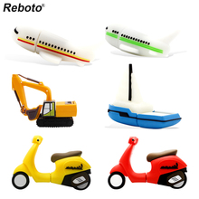Reboto Cartoon Digger Airplane Boat Battery Car USB Flash Drive 4GB 8GB 16GB 32GB 64GB U disk Pendrive USB Stick