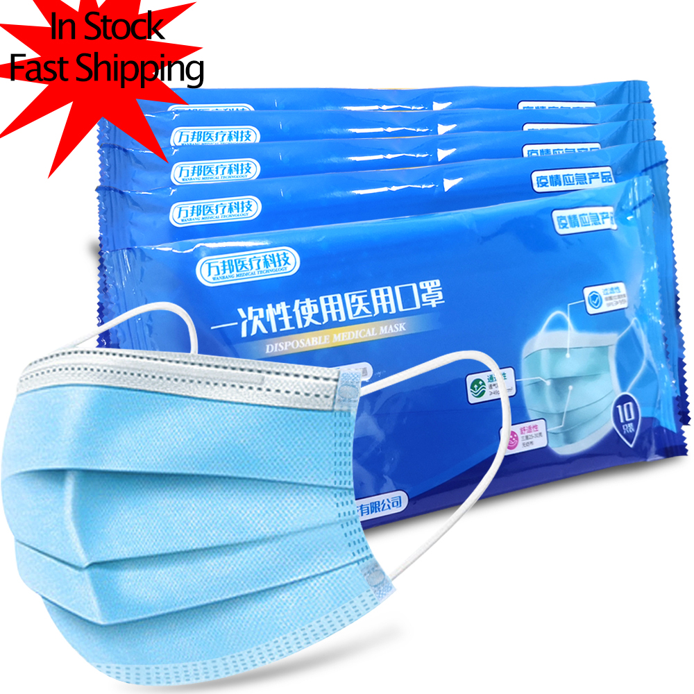 Personal Disposable Protective Mask 3 Layers Thickened Meltblown Cloth Dustproof PM2.5 Maldehyde Face Earloop Mask Same As FFP2