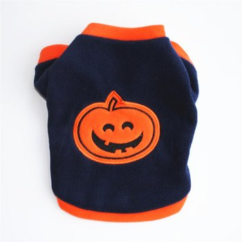 Autumn Winter Dog Clothes Thick Warm Coat Cotton Fabric Jacket Pullover Halloween Pumpkin Style Fashion Pet Dog Outfit