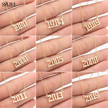 Necklaces SMJEL Birthday-Gift 1989 Year-Number Custom-Year 1980 Personalize Women 2000