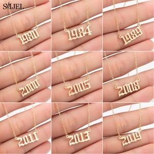 SMJEL Personalize Year Number Necklaces for Women Custom Year 1980 1989 2000 Birthday Gift from 1980 to 2019(China)