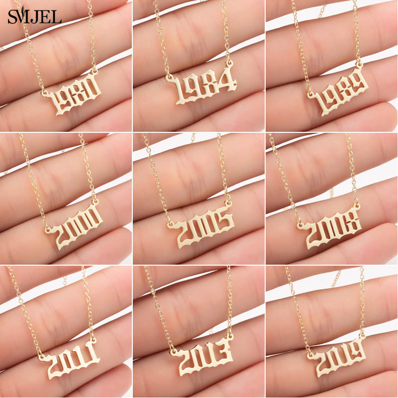 SMJEL Personalized Year Number Necklaces for Women Custom 1980 1989 2000 Birthday Gift from to 2019