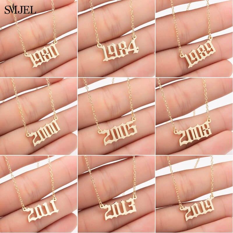 Smjel personalize o número do ano colares para mulheres ano personalizado 1980 1989 2000 presente de aniversário de 1980 a 2019