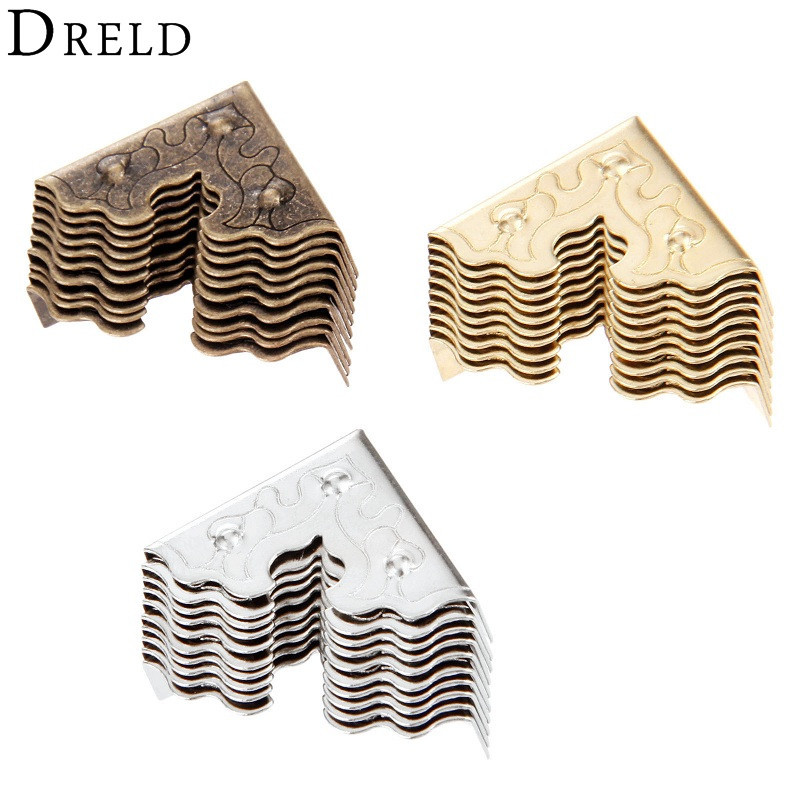 DRELD 10Pcs Antique Furniture Metal Crafts Jewelry Box Corner Foot Wooden Case Corner Protector Decorative Corner 25mm