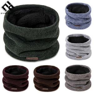 Evrfelan New Solid Color Neck Wear Men's Warm Scarves Knitted Cotton Scarf Women Winter Neck Accessories Unisex Scarf Wholesale(China)