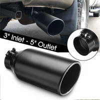 Universal Car Exhaust Muffler Tail Pipe 3 Inlet 5 Outlet Exhaust Tip Tail Pipe Rolled End Stainless Steel Angle Cut Tube