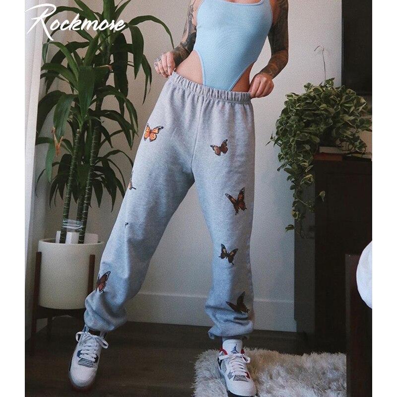 Rockmore Plus Size Sweat Pants Femme Butterflies Print Harajuku Pencil Pants High Waist Joggers Grey Capris For Women Streetwear