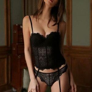 Image 1 - 브래지어 + 가터 + T 백 꽃 레이스 1/2 컵 속옷 세트 여성 섹시한 잠옷 브래지어 투명 팬티 꽉 끼는