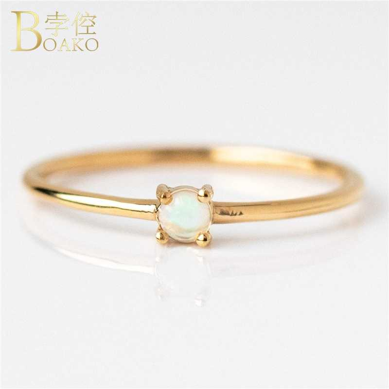 Sự Tối Giản Thạch Anh Vàng Opal Cho Nữ, Nhẫn Nữ DỰ TIỆC CƯỚI Vàng Nhẫn Nữ Đá Ruby Cô Gái Tặng Dainty Nhẫn Nữ Mỏng Ngón Tay Anillos K5