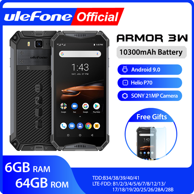 Ulefone Rüstung 3W Wasserdichte Robuste Handys Android 9,0 Helio P70 6G + 64G NFC Globale Version 4G LTE Smartphone