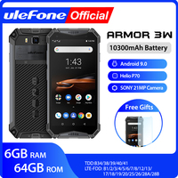 Ulefone armor 3W Waterproof Rugged Mobile Phones 2.4G/5G WiFi Android 9.0 Helio P70 6G+64G NFC Global Version 4G LTE Smartphone