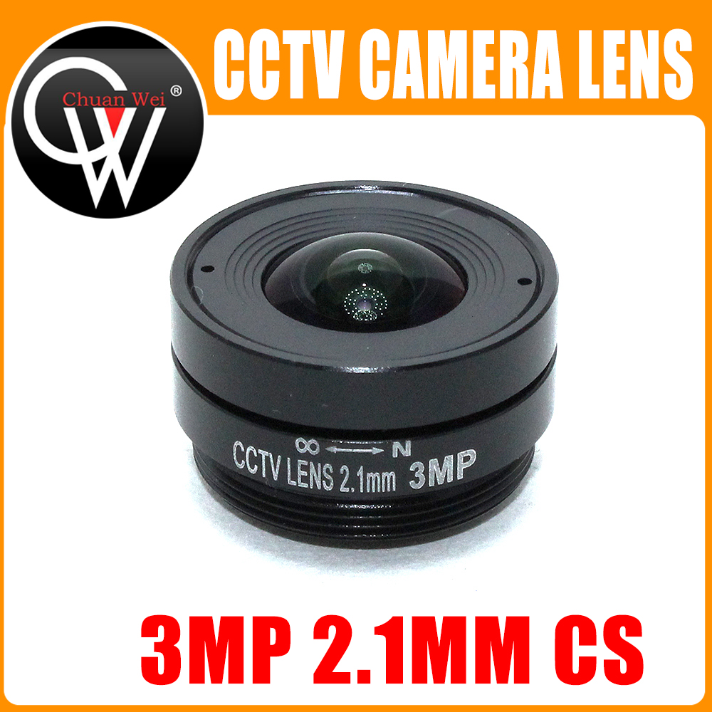 3.0 Megapixel 2.1mm Cs Lens Fixed Iris Lens CS Mount CCTV Lens Wide Angle Of View 133degree For 1/2.7