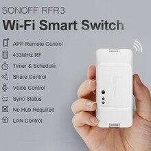 Yeni SONOFF 433 RF R3 WiFi akıllı anahtarı, destek APP/433 RF/LAN/ses uzaktan kumanda DIY modu çalışır Google ev için