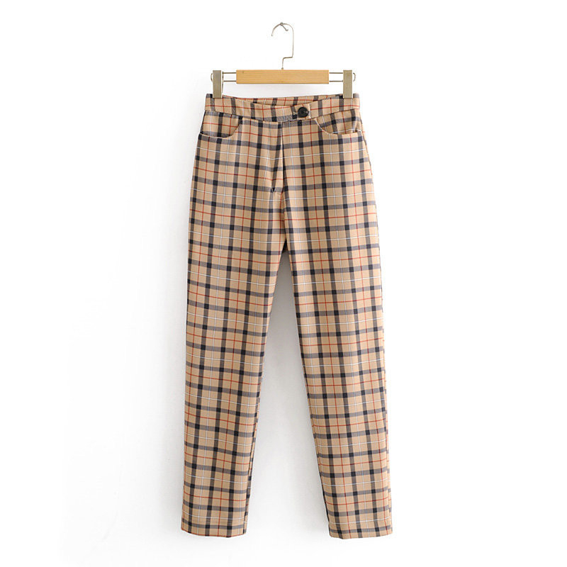 Spring Plaid Pants Women High Waist Pants Zipper Streetwear Straight Office Pants Korean Vintage Long Trousers Women 2020