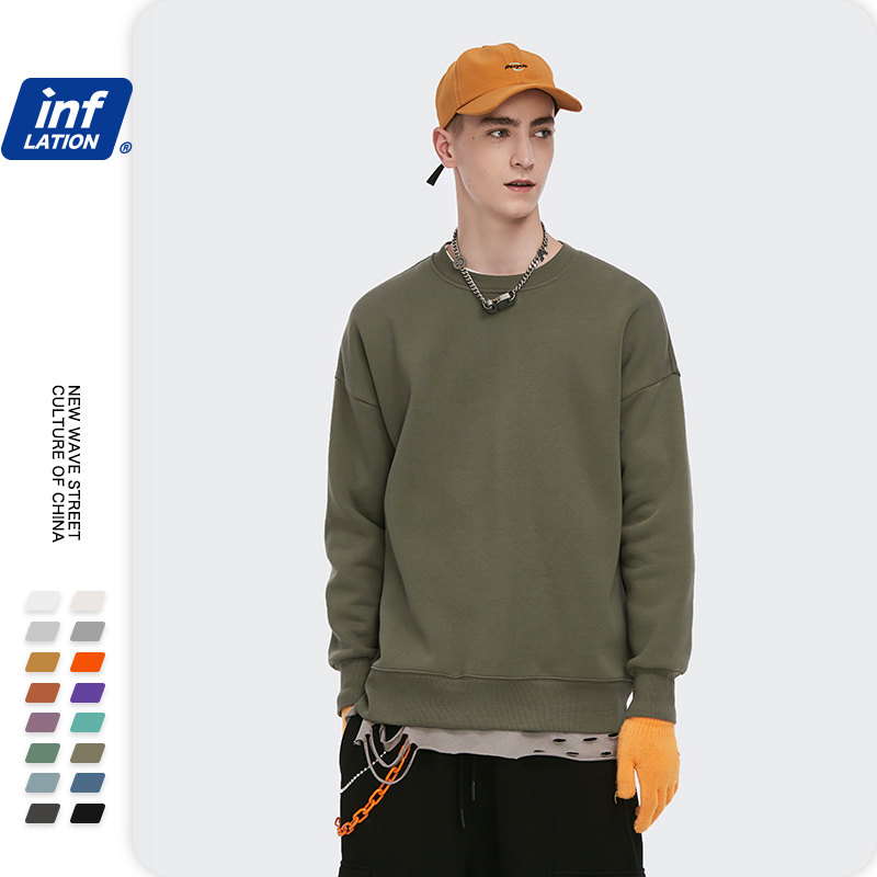 INFLATION Winter Mens Hip Hop Multi-colour Hoodies Velvet Fabrics Fleece Sweatshirts 8 Solid Color Winter Men Sweatshirts 166W17 8