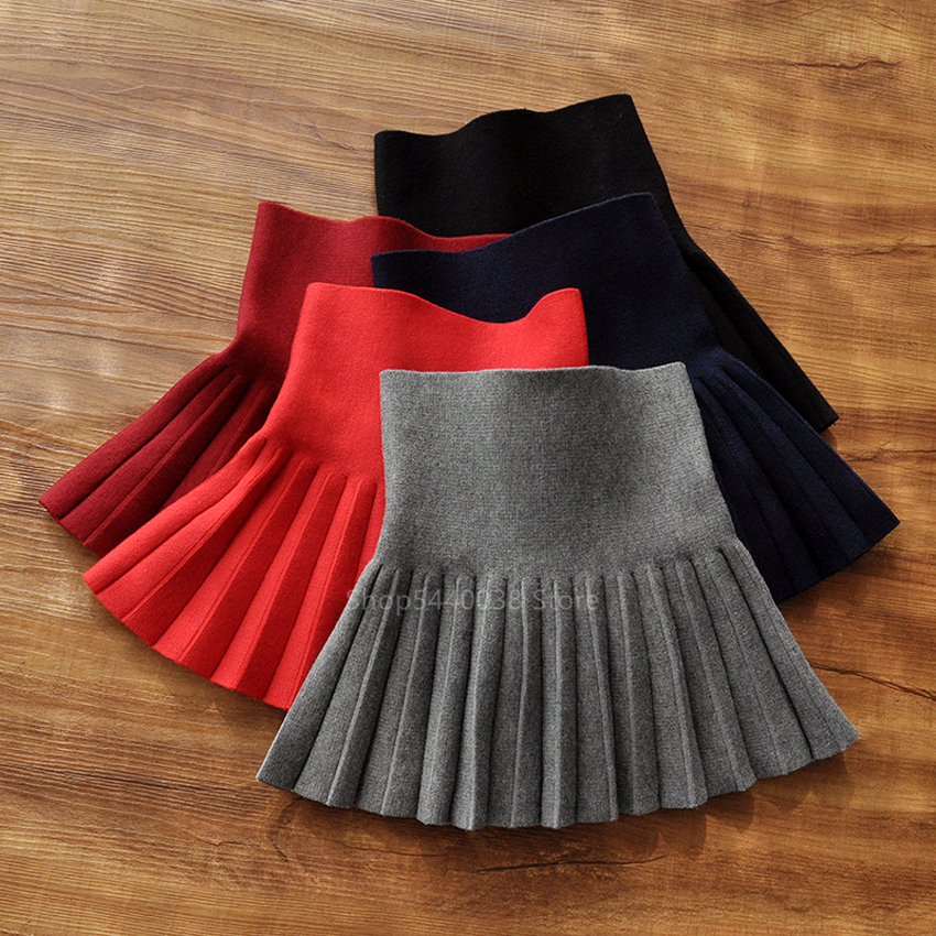 Fashion Japanese Korean Short Skirt Kid Girl School Uniform JK Sailor Elastic Hight Waist A-Line Solid Pleated Skirt Stage Dance