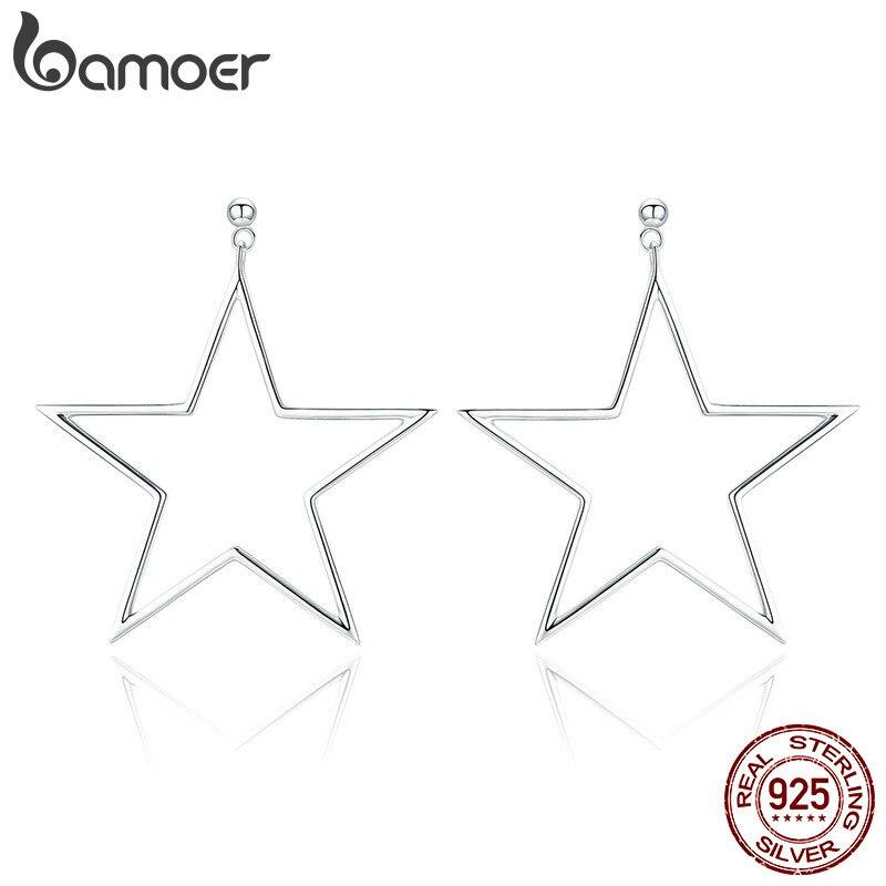 BAMOER Real 925 Sterling Silver Punk Rock Star Stud Earrings For Women Simple Geometric Line Fashion Earrings Jewelry SCE463