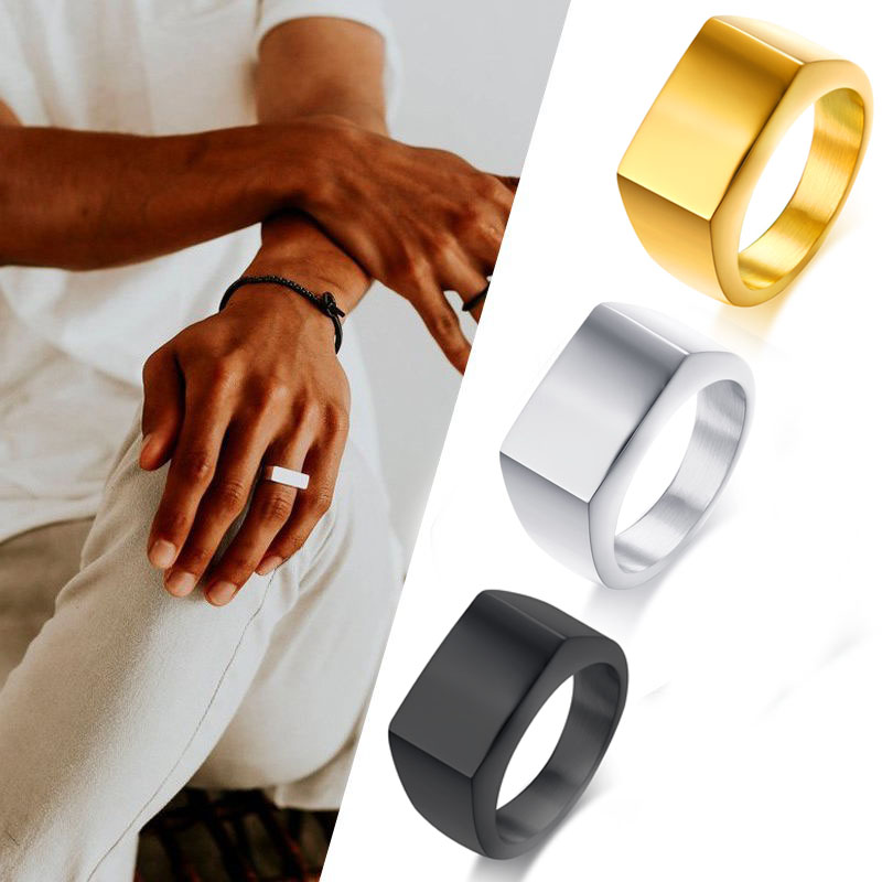 Square Band Flat Top Men's Signet Ring Oxidized Silver Color Stainless Steel Vintage Rustic Male Jewelry