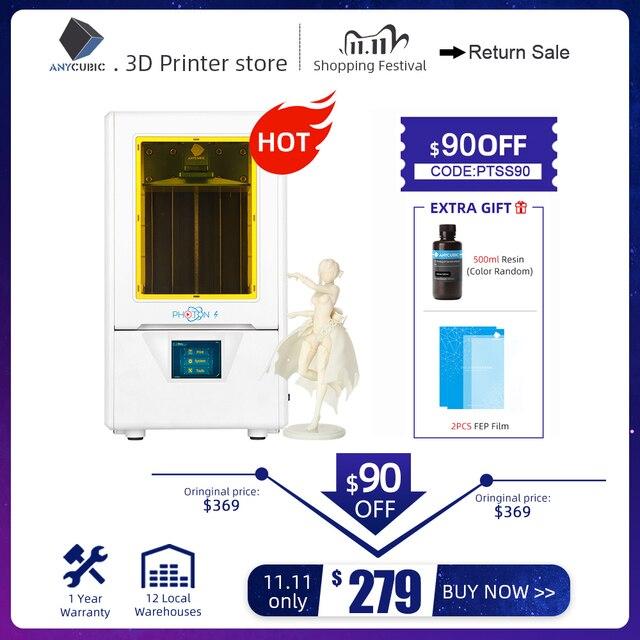 طابعة ANYCUBIC Photon S ثلاثية الأبعاد SLA طابعة ثلاثية الأبعاد مزدوجة Z axis 2K تعمل باللمس طابعة UV الراتنج impressora ثلاثية الأبعاد imprimante ثلاثية الأبعاد drucker