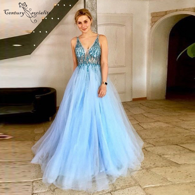 Sky Blue   Prom     Dress   Long Beaded Crystal Sheer Top Zipper Back Floor Length Evening Gowns Formal Party   Dress   Vestidos De Festa
