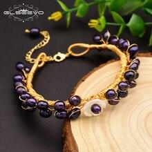 Glseevo natural água doce roxo pérolas pulseiras para mulheres presente engagament ajustável pulseiras artesanal jóias GB0062 B