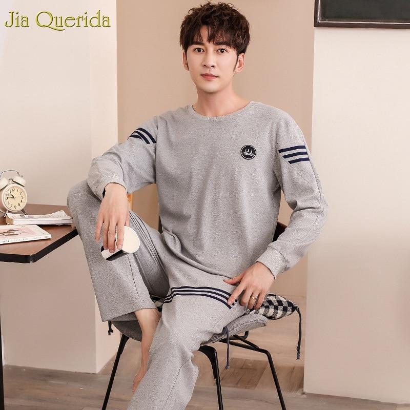 2019 New Fashion Pajama Mens Sleepwear 100% Cotton O-collar Long Sleeves Autumn Bottom-tied Trousers Solid Gray Pajamas For Men