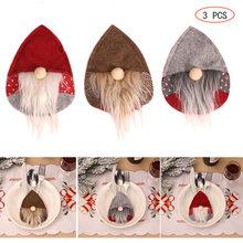 Noel noel baba yüzü olmayan Gnome çatal tutucular çatal çanta yemeği dekor noel baba bıçak ve çatal seti