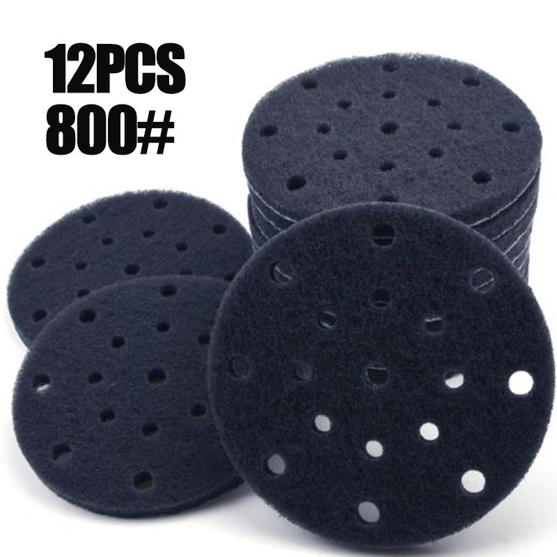 12pcs/Set 6 Inches(150mm) 17-Hole Nylon Hook And Loop Round Scouring Pads Abrasive Tools Accessory