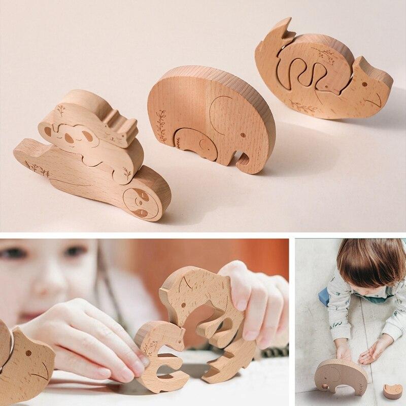 Baby Building Blocks Toy Stitchable Maple Animal Model Toys Cute Elephant Kangaroo Kids Intelligence Improvement Toys Baby Gifts