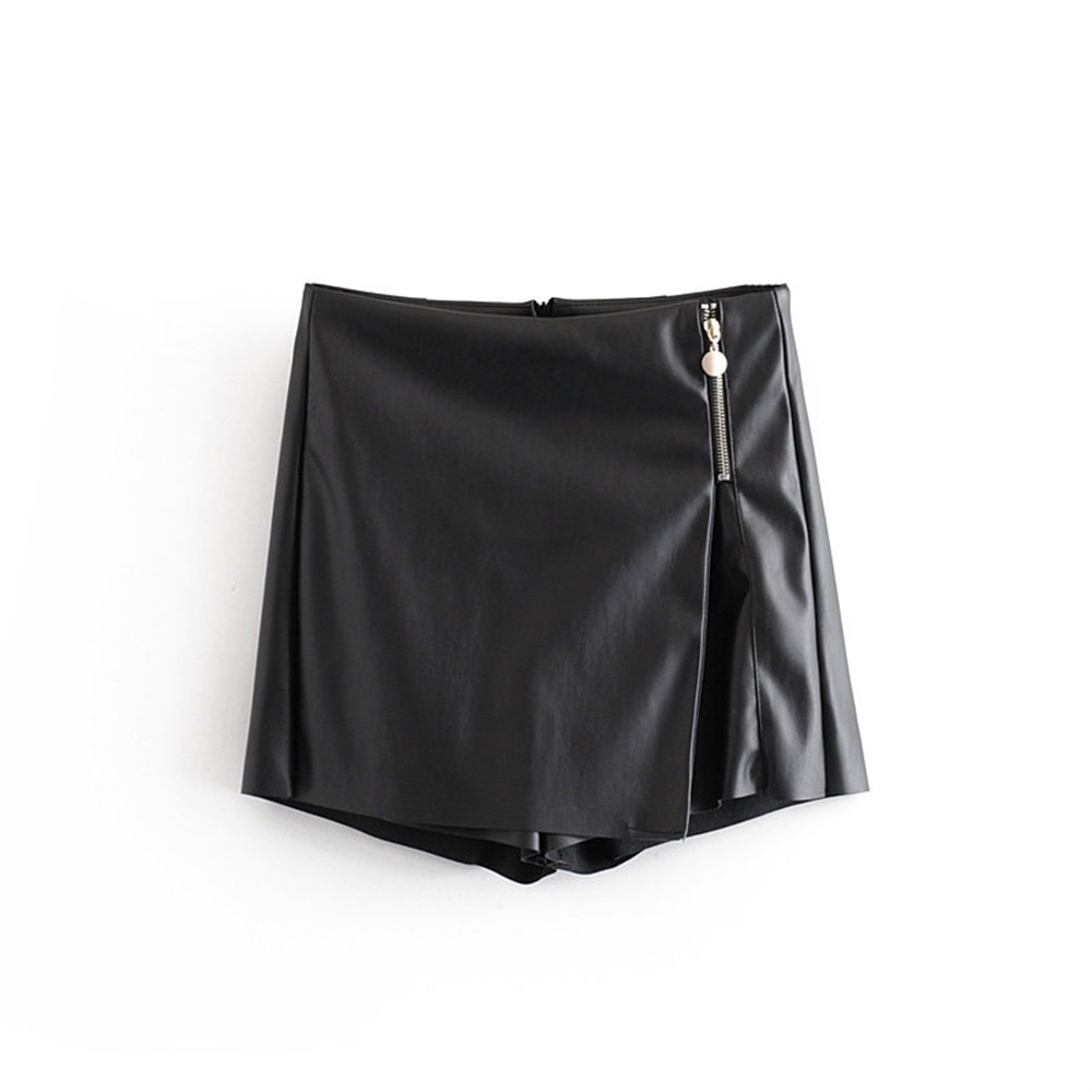 Autumn 2019 Women's New High Waist Pleated Zipper Irregular Shorts Faux Leather Casual Shorts 08558547800