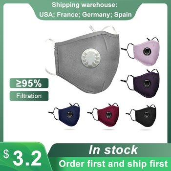 Maska ochronna maska przeciwpyłowa Respirator przeciw zanieczyszczeniom Anti-smog PM2 5 z zaworek wydechowy zmywalny wielokrotnego użytku maski na twarz tanie i dobre opinie Wiatroszczelna Oddychające Szybkie suche