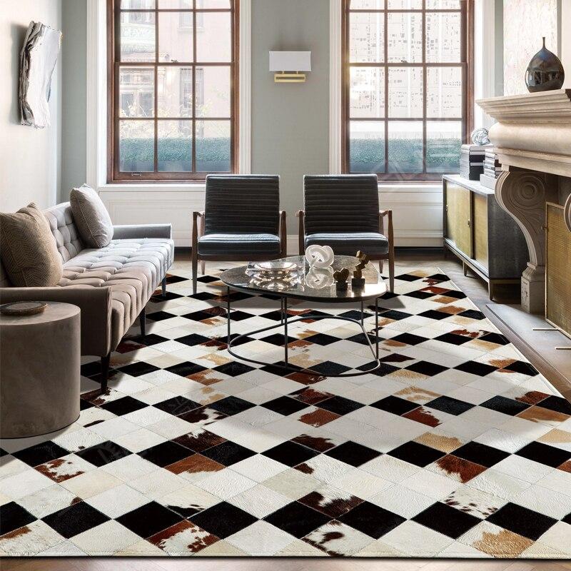 American Style Luxury Cowhide Skin Fur Plaid Rug, Natural Calfskin Fur Carpet  For Living Room  Decoration Dining Room Rug SALES