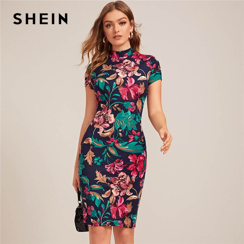 SHEIN Multicolor Mock Neck Form Fitted Floral Print Dress Women Spring Cap Sleeve Bodycon Elegant Pencil Midi Dresses|Dresses| - AliExpress