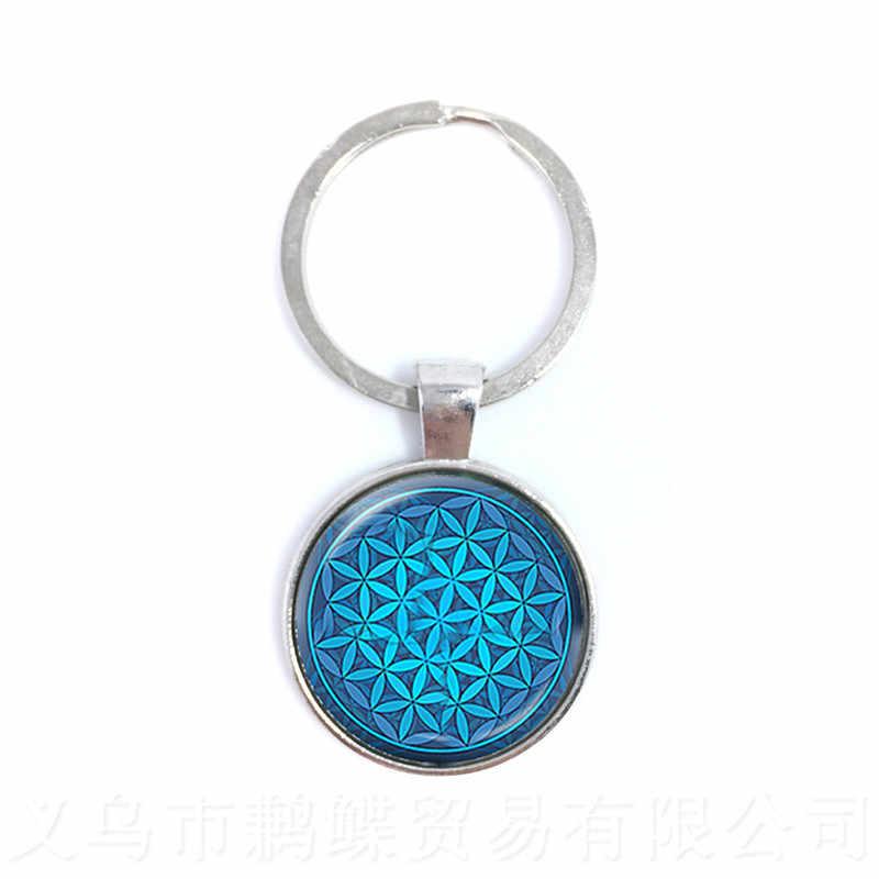 Mandara Mandala Chakra Jóias Chaveiro Moda Jóias De Vidro de Vidro Da Flor Geométrica do OM Yoga Chaveiro Presente Para A Família