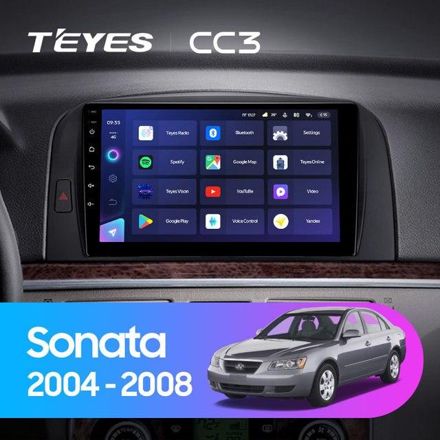 TEYES CC3 Штатная магнитола For Хендай Соната NF For Hyundai Sonata NF 2004 - 2008 до 8-ЯДЕР, до 6 + 128ГБ 27EQ + DSP carplay автомагнитола 2 DIN DVD GPS android 10 мультимедиа автомобиля головное устройство 2