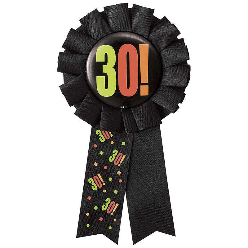 Leeiu Hitam Ribbon Rosette Lencana Bros Pin Happy 30 40 50 60th Ulang Tahun Favor Pernikahan Ulang Tahun Dekorasi Dewasa Pesta