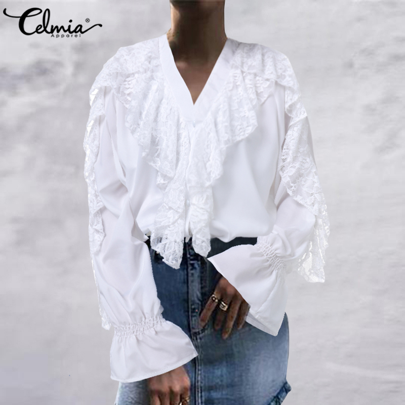 Top Fashion Women's Ruffles Blouses Celmia Spring Summer Long Sleeve White Lace Shirts Female V-neck Casual Elegant OL Blusas 7
