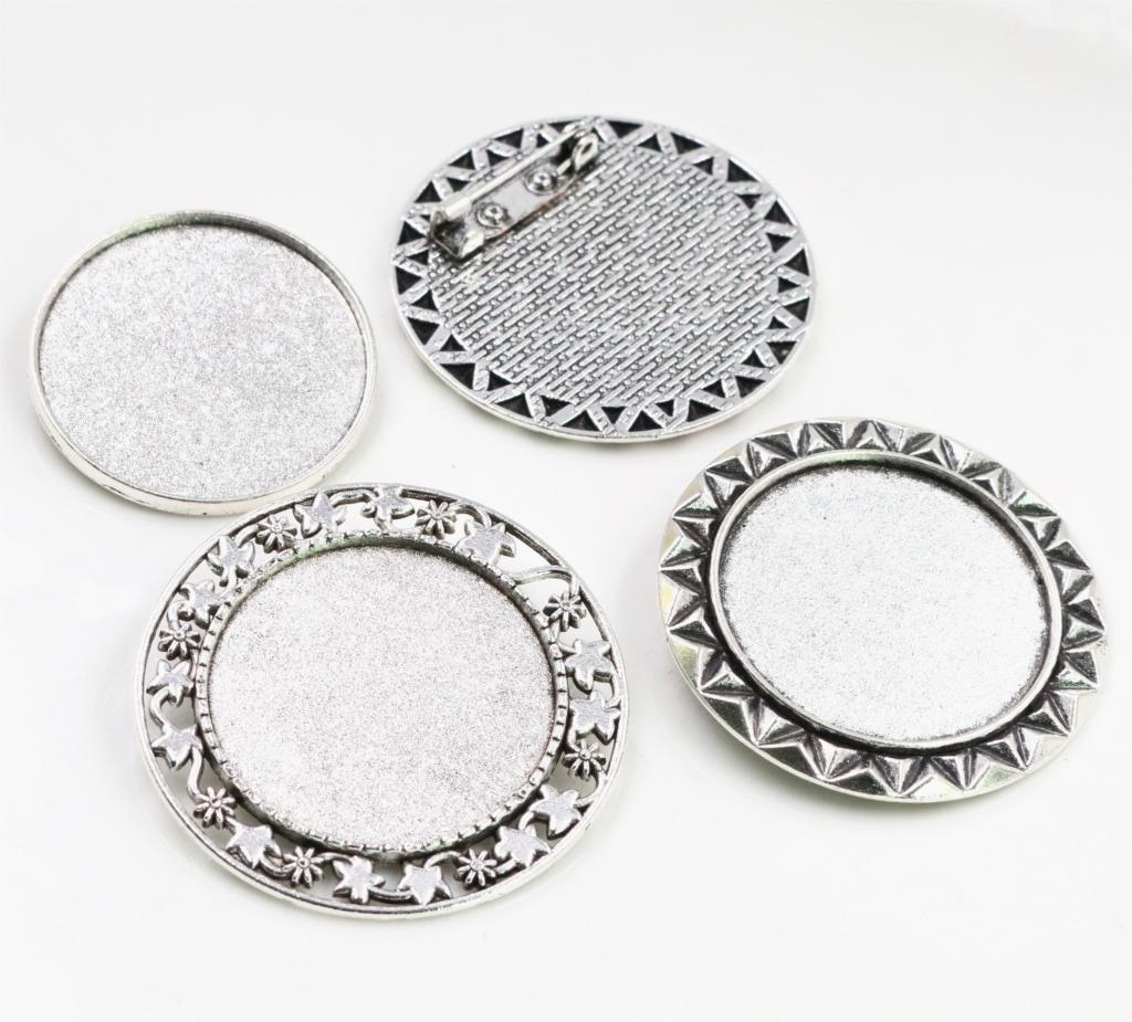 2pcs 30mm Inner Size 3 Fashion Style Antique Silver Colors Plated Brooch Pin Classic Style Cabochon Base Setting