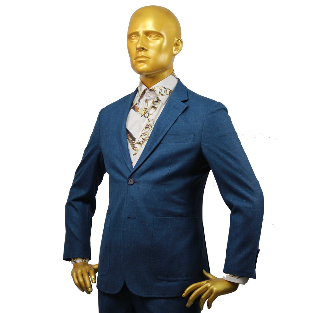 Custom Tailor Made Men's Bespoke Suit Jacket Pant Business Formal Wedding Coat Blue Wool Linen Silk NO-lining Slim Fit Free Ship