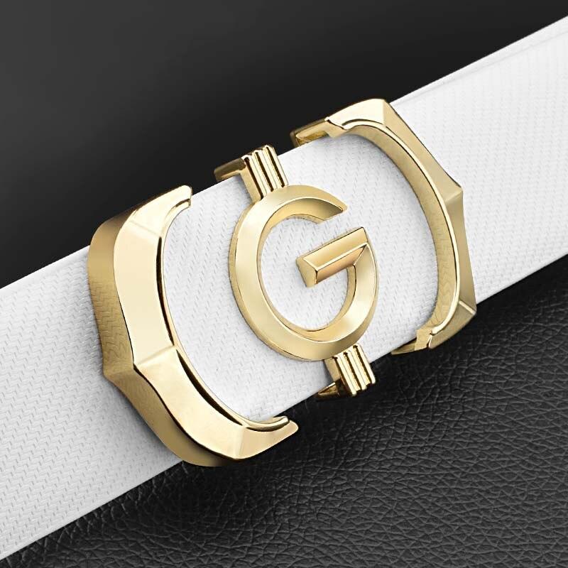 High quality Designer belts men genuine leather fashion g belt men luxury brand Cowskin casual white Waist Strap ceinture homme